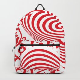 red white heart on red floral ornament background. Optical illusion of 3D Backpack