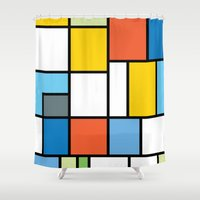 simpsons Shower Curtains featuring The Colors of / Mondrian Series - Simpsons by hyos