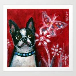 Boston Terrier eyes butterfly red Art Print