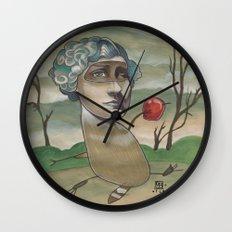 RED APPLE RACCOON Wall Clock