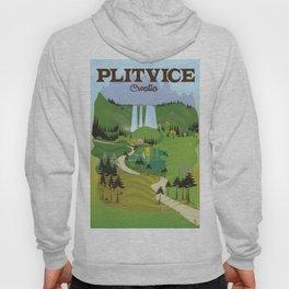 Plitvice Croatia landscape model travel poster. Hoody