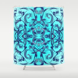 blue Digital pattern with circles and fractals artfully colored design for house and fashion unique Shower Curtain
