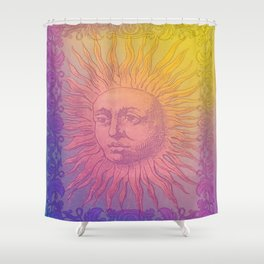 Psychedelic Vintage Tarot Sun Shower Curtain