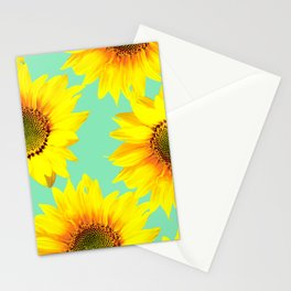 Sunflowers on a pastel green backgrond - #Society6 #buyart Stationery Cards