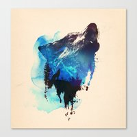 alone Canvas Prints featuring Alone as a wolf by Robert Farkas