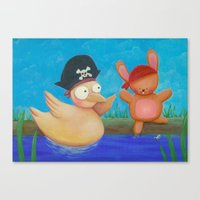 pirates Canvas Prints featuring Pirates ! by Pinkpandas