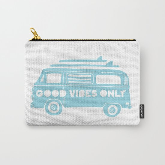 Good Vibes Only retro surfing Camper Van by soulvisible