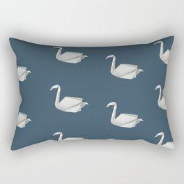 White & blue origami swan pattern Rectangular Pillow