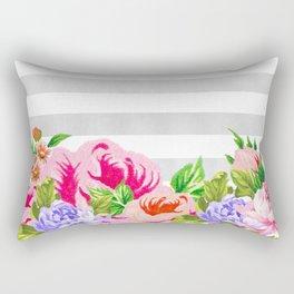 FLORAL GRAY STRIPES Rectangular Pillow