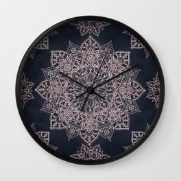 Elegant rose gold poinsettia and snowflakes mandala art Wall Clock