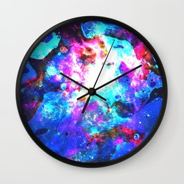 Colorful Watercolor Abstract background. Multicolor grunge psychedelic pink blue texture tie dye Wall Clock