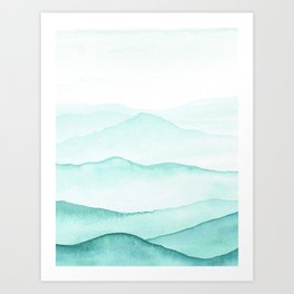 Mint Mountains Art Print