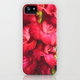 Red Gladiolas on Black iPhone Case