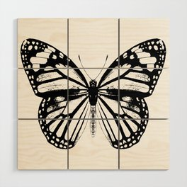 Monarch Butterfly | Black and White Wood Wall Art
