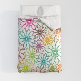 Colorful flowers on white Comforters