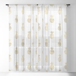 Gold Pineapples Sheer Curtain