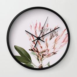 Protea, Flower, Leaves, Plant, Green, Scandinavian, Minimal, Modern, Wall art Wall Clock