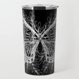 Black and White Butterfly Design Travel Mug