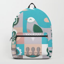 Scandinavian Soft Muted Midcentury Modern Birds And Flowers Backpack