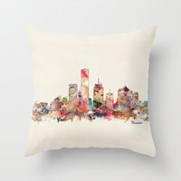 wisconsin Throw Pillows featuring milwaukee wisconsin  by bri.buckley