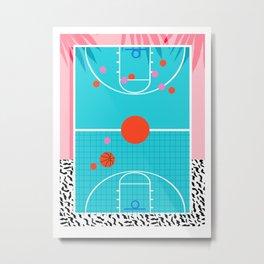 Hoops - throwback retro 80s basketball sports athlete neon 1980's memphis style art Metal Print