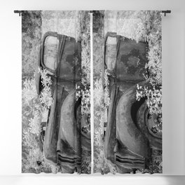 Rusting Pickup with Tree Grown in Cab Black and White Infrared Blackout Curtain