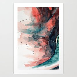 Watercolor dark green & red, abstract texture Art Print