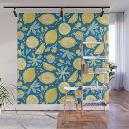 Lemon Pattern Blue Wall Mural
