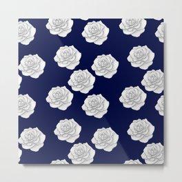 Moonlight Blue White Rose Floral Seamless Pattern Metal Print