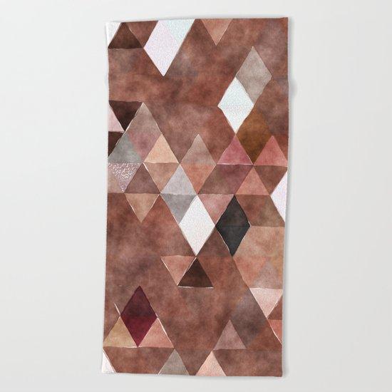 Retro Triangles Pattern 04 Beach Towel