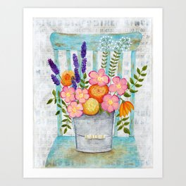 Old chair with flowers Art Print