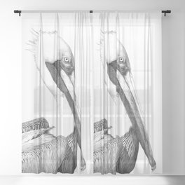 Black and White Pelican Sheer Curtain