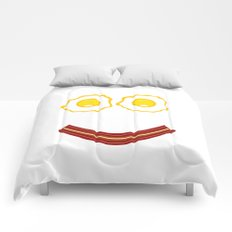 Bacon And Eggs Happy Face Comforters