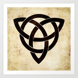 Celtic knot on old paper Art Print