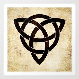 Celtic knot on old paper Art Print