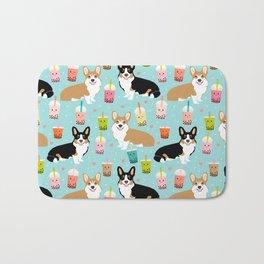 Corgi boba tea bubble tea kawaii food welsh corgis dog breed gifts Bath Mat