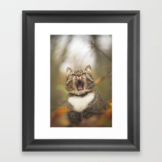 Cat roar  Framed Art Print
