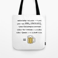beer Tote Bags featuring Beer by science fried art