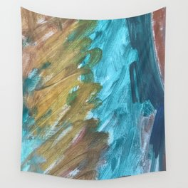 Blue and Gold Abstract Painting Wall Tapestry