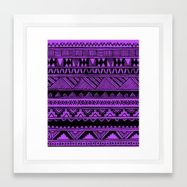 Black Purple Violet Cute Girly Urban Tribal Aztec Andes Abstract Geometric Pattern Framed Art Print