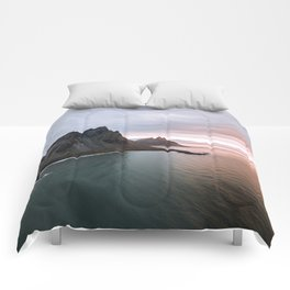 Iceland Mountain Beach Sunrise - Landscape Photography Comforters