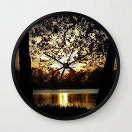 Kansas Golden Sunset Reflection Wall Clock