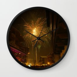 Fireworks in Mayrhofen, Austria Wall Clock