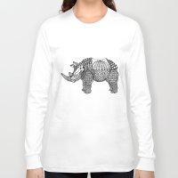 rhino Long Sleeve T-shirts featuring Rhino by farah allegue