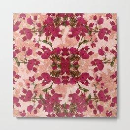 Retro Vintage Floral Motif Metal Print