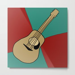 Art Deco Guitar Drawing Metal Print