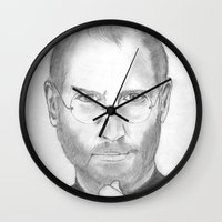 steve jobs Wall Clocks featuring Steve Jobs by Feroz Bukht