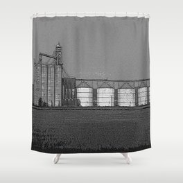 Black & White Grain Silos Pencil Drawing Photo Shower Curtain