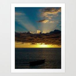 Sunset Soufriere Art Print