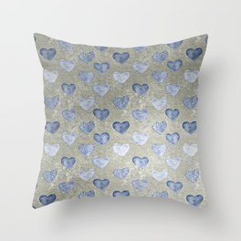 Blue Hearts On Grungy Grey Throw Pillow